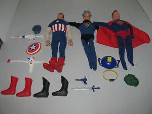 Vintage Ideal Toys Captain America/Superman/Captain Action Mixed Lot As Shown