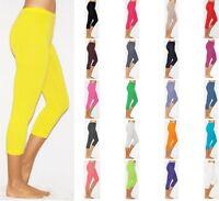 Womens Cropped Capri Cotton Leggings Pants AU Size 6-26 & All Colours