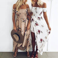 Vintage Women Summer Boho Chiffon Off Shoulder Beach Floral Print Long Dress New