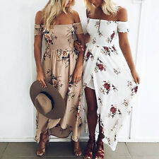 Vintage Women Summer Boho Chiffon Off Shoulder Beach Floral Print Long Dress New