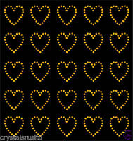 30 Rhinestone Hearts iron-on diamante diy transfer crystal stone bling applique