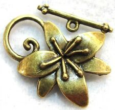 5Sets Tibetan Antique Bronze LG. FLOWER Toggle Clasps Hooks Connectors C238