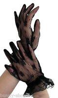 1 Paar elegante schwarze kurze Spitzen Finger Handschuhe Einheitsgröße