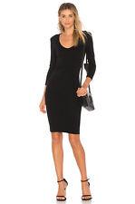 $245 James Perse Skinny Tucked True Black 3/4 Sleeve Dress Sz 0 XS S Small NWT *