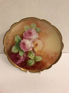 Vintage Coronet French Limoge Gold Scalloped Plate- Signed By Artist