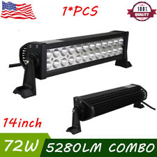 14inch 72W Spot Flood Combo LED Work Light Bar 4WD Driving Boat Offroad CAR Lamp