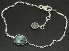 Labradorite faceted fine bracelet Solid Sterling Silver, UK Seller. New.
