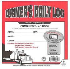 5 PACK 2-In-1 JJ KELLER Driver's Daily Log Book 8541 W/CARBON W/Simplified DVIR