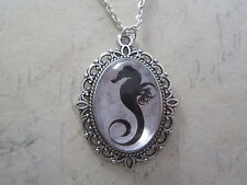 Black Shabby Chic SeaHorse Silhouette Silver Plated Necklace New Gift Bag