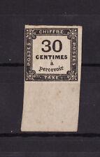 timbre France TAXE  carré  30c noir   num: 6  *  bord de feuille