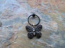 "Ring Tragus 16 Gauge 1/2"" Silver Blackened Moth Cartilage Piercing Captive"