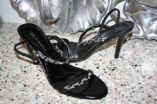 ANNE KLEIN AK CACHET SANDALS HEELS STRAPPY SIZE 6.5 M LEATHER BLACK