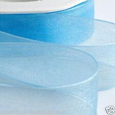 15mm Organza Woven Edge Blue Favour Ribbon 20 Metres