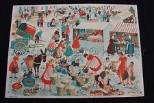C710 Affiche scolaire Bourrelier Poirié Le Marché Fruit legume mercerie tissu