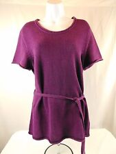 Ladies Croft & Barrow Large Purple Short Sleeve Pullover Long Sweater Tunic New