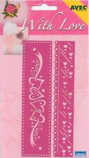 2 Pochoirs à estamper AVEC Bordure Ceur Amour Embossing Folder Border Love
