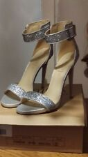 Silver Glitter Ankle Strap Heeled Sandals UK Size 8/41 Brand new!