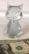 """Hand Blown Clear Art Glass OWL Sculpture MURANO FIGURINE Statue 4"""" TALL"""