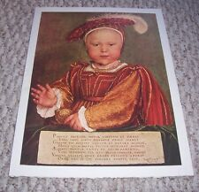 EDWARD VI AS PRINCE OF WALES by Hans Holbein the Younger German Color Print