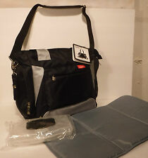 Skinly Diaper Bag Baby Diaper Changing Bag Black/Gray Tote Bottle Bag-Free Ship