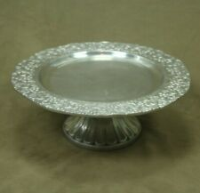 """Mexican Pewter Cake Stand Pedestal Floral Border 13.5"""" diameter"""