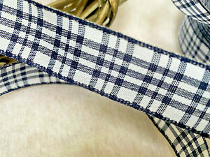 25mm Wired Edge Rustic Check Ribbon Navy Blue/White.Crafts, Gift Wrapping