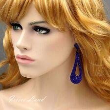 New Alloy Blue Crystal Rhinestone Chandelier Drop Dangle Earrings 07883 Prom
