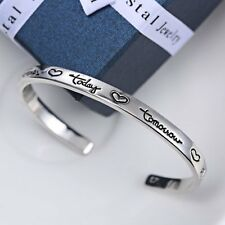 Jewelry Silver Plated Friends Forever Today Tomorrow Always Cuff Bracelet Bangle