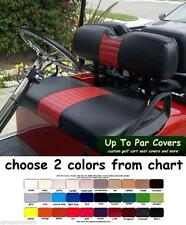E-Z-GO TXT Golf Cart Custom Front & Rear Flip Seat Cover Combo Set - STAPLE-ON
