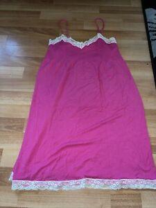 Ladies Pink Vest Night Dress Nightie Pjs Size Large 14-16
