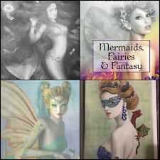Grayscale Adult Coloring Book Mermaids Fairies Fantasy Grownup Stress Relief Art