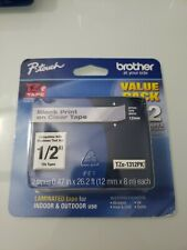 """Genuine Brother TZe-1312PK - 12mm 1/2"""" Black on Clear  P-Touch TZ tape Pack of 2"""