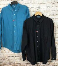 Fresh Produce button down shirt mens 2XL XXL LOT of 2 long slv teal black P5