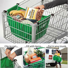 New Foldable Tote Bag Grocery Grab Bag Fabric Shopping Bag Clip-To-Cart Trolley