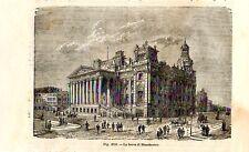 Stampa antica MANCHESTER Palazzo Borsa United Kingdom 1889 Old antique print