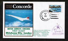 Concorde 1985 First Flight Flown Cover Oklahoma City - London