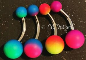 14g two tone rubber coated multicolored basic navel belly ring (#280-283)