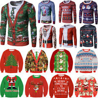 Ladies Mens Xmas Christmas Sweatshirt Pullover Santa Jumper Sweater T-Shirt Tops