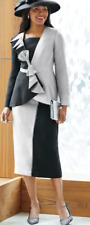 Ashro Gray Black Formal Dress Mother of the Bride Kinshara Skirt Suit 16W PLUS