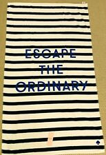 "Kate Spade Beach Towel/Oversized Beach/Bath 40x70"" Navy, White Stripe, Escape"