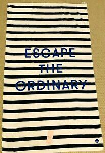 "Kate Spade Beach Towel/Oversized Beach/Bath 40x70"" Navy, White Stripe, Escape"