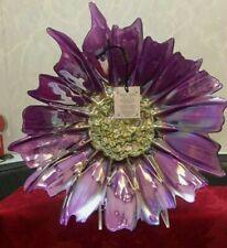 "AKCAM Purple Luster Floral Decorative Bowl Plate Turkey Iridescent 12 3/4 "" New"