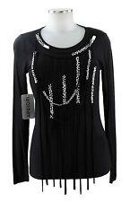 Apriori Shirt 38 schwarz Perlen Top elegant neu Long shirt Viskose neu m.Etikett
