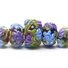 Lilac Garden Rondelle Artist Beads Set of 5 Pink *UK BEAD STORE*