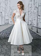 Wadenlanges Ivory Standesamtkleid Brautkleid Spitze Corsage V-Ausschnitt Gr.34 S