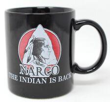Vintage Narco The Indian Is Back American Tribe News Black Coffee Mug Tea Cup