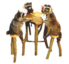 Raccoons Playing Poker Table Professional Taxidermy Mounted Animal Statue Gift