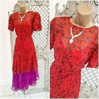 Studio by Preen UK 10 New Red Purple Floral Fit & Flare Midi Dress ~Free P&P~