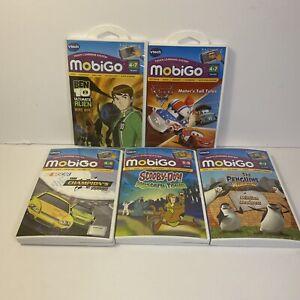 Vtech Mobigo Games Lot Of 5 Disney Cars, Scooby-Doo Ben 10 & More Handheld Games