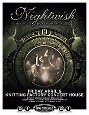 "Nightwish ""Decades Tour 2018"" Spokane, Wa Concert Poster - Symphonic Metal Music"